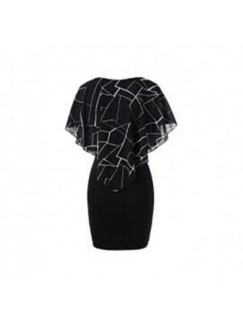 DRESSFO Mini-robe Imprimée à Volants Pour Femmes - Noir