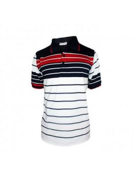 Polo à Manches Courtes - Homme - Blanc/Bleu/Rouge