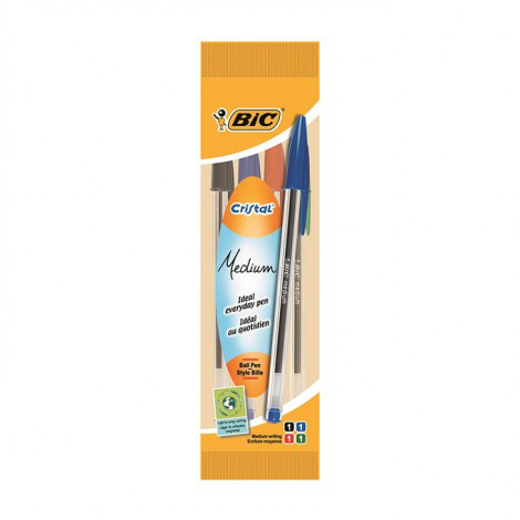 Bic Stylo Cristal Medium Pochette X 4 - Asso