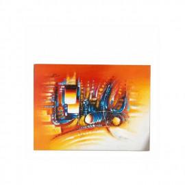 Tableau De Peinture Africaine - Orange/Bleu