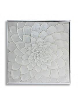 Tableau Décoration Murale Fleure Blanche - 50,5 X 50,5 Cm - Gris